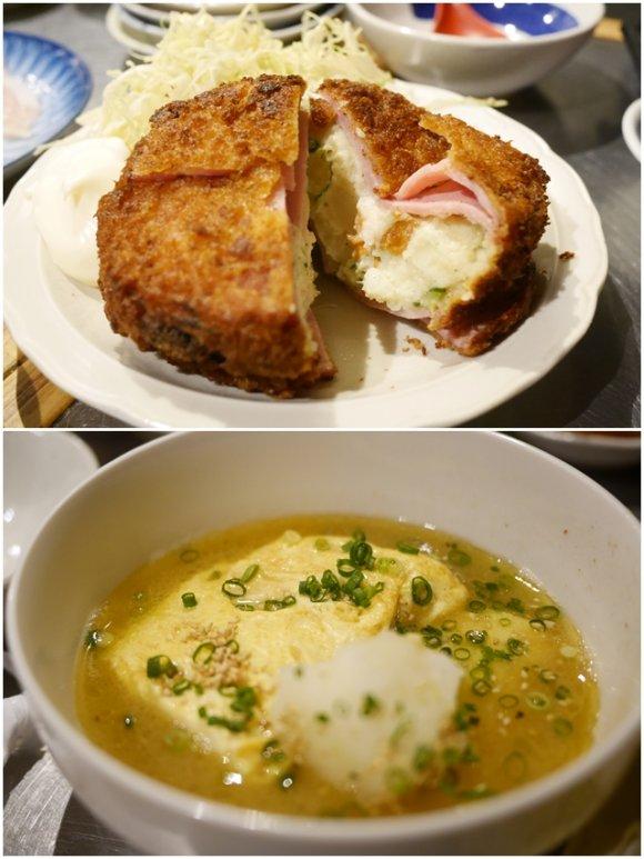 中身がボリューミーなハムカツポテトサラダサンドと綺麗なだしの色をした卵スープの写真