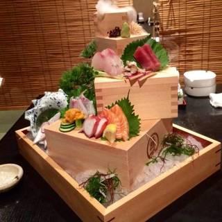 【魚地心名物 鮮魚の枡盛り】