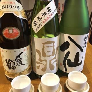 今回は同僚3人で、一杯目から日本酒スタート。それぞれ徳利で一合ずつで飲み比べます。
