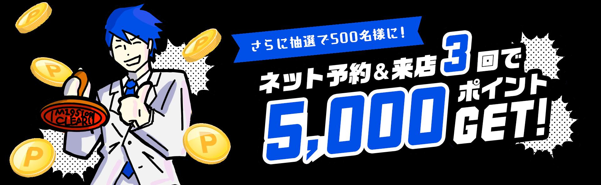 さらに抽選で500名様に、ネット予約&来店3回で5,000ポイント!